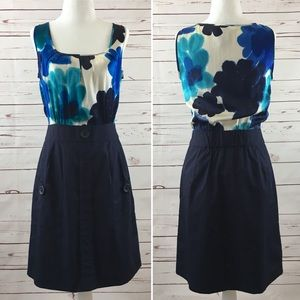 Anthro Tabitha Blue Floral Silk Sleeveless Dress